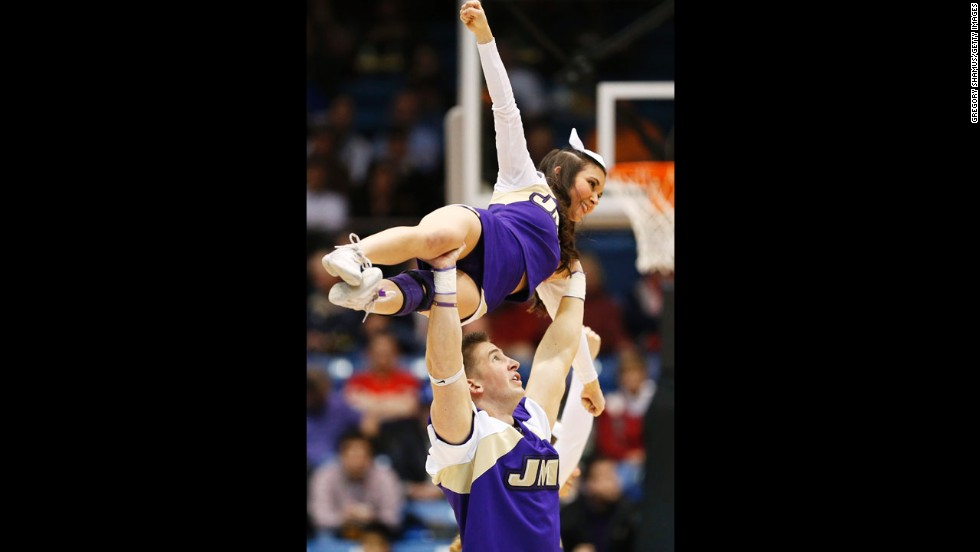 James Madison University Dukes cheerleaders perform in the first half against the LIU Brooklyn Blackbirds on March 20 in Dayton, Ohio.