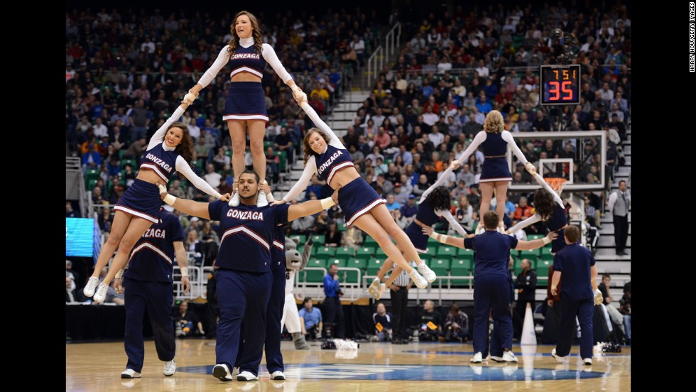 The Gonzaga Bulldogs cheerleaders perform in the first half during a break in a game against the Southern University Jaguars on March 21 in Salt Lake City.