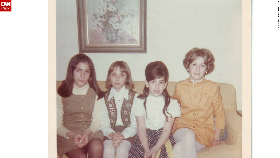 "<a href=""http://ireport.cnn.com/docs/DOC-951774"">Marjorie Zien</a>, second from left, was 10 years old in 1967 when this photo was taken at her Aunt Fran's annual New Year's Eve party. She wore her ""really cool mirrored vest"" her uncle brought back from Pakistan and a handmade A-line skirt. Her sister, far right, sported a Nehru collar dress accessorized with a medallion necklace."