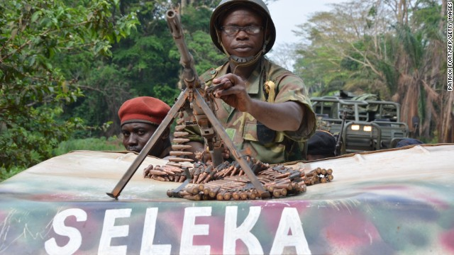 Seleka rebels patrol in an armoured vehicle in the south of Bangui, on April 1, 2013.