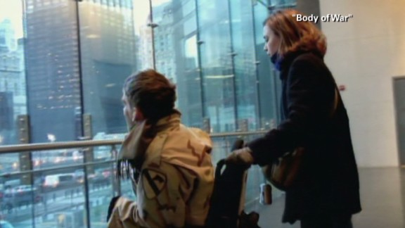 """In a scene from the documentary film """"Body of War,"""" Young looks out onto Ground Zero in New York. He was propelled to join the Army because of the September 11 attacks."""