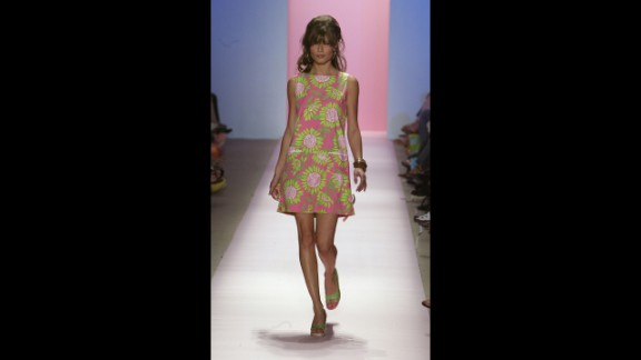 """A model wears an iconic """"Lilly"""" dress at the Lilly Pulitzer Couture Spring 2005 fashion show in September 2004 in New York City."""