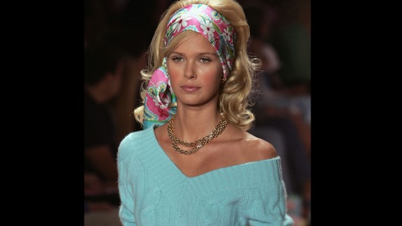 A model wears a bright patterned headscarf during the 2005 show.