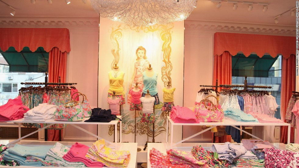 The designer's shirts and bags are on display during The NYNatives.Com Lilly Pulitzer Shop & Share in April 2012 in New York.
