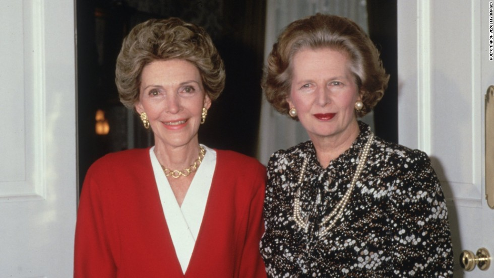 First lady Nancy Reagan meets Thatcher at No. 10 Downing St. in July 1986.