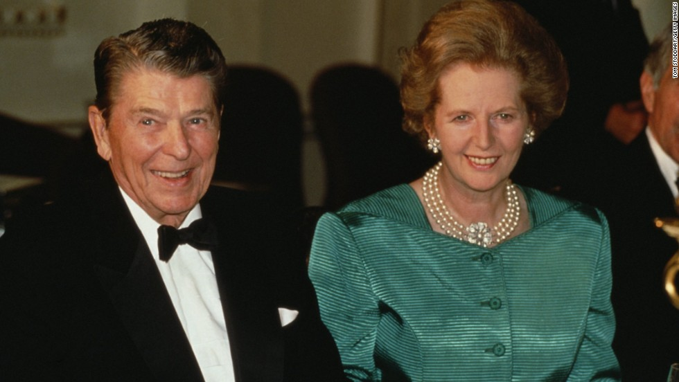Reagan had a warm working relationship with British Prime Minister Margaret Thatcher, seen together here in 1989.