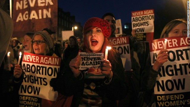 Marchers remember Savita Halappanavar at a demonstration in Dublin, Ireland, on November 17, 2012.