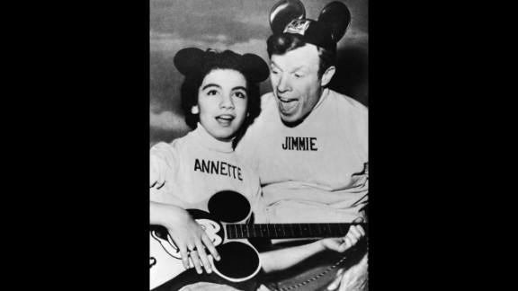 """Funicello and Jimmie Dodd promote """"The Micky Mouse Club"""" in 1957. Walt Disney selected Funicello to be on the popular children"""