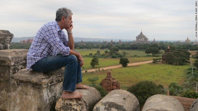 CNN's Anthony Bourdain at the Shwesandaw Pagoda in Old Bagan.