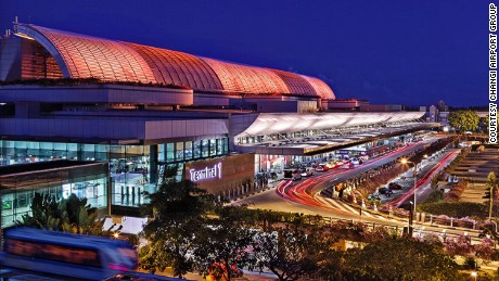 A night time shot of Terminal One at Singapore Changi Airport.