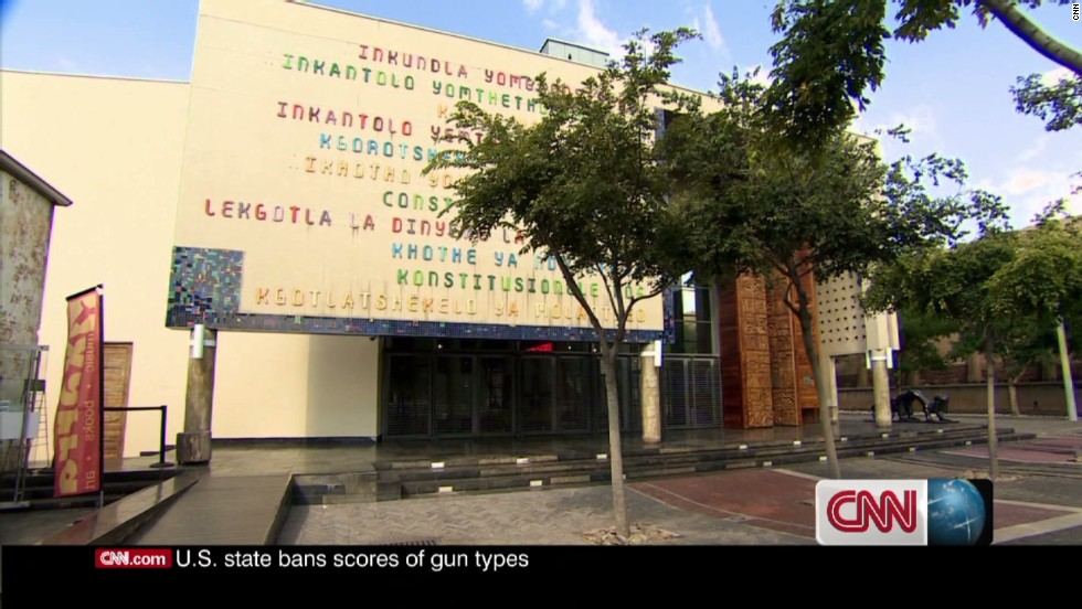 The Constitutional Court in Johannesburg was designed to visually represent the ideas expressed in the country's new rule of law. In its facade, the name of the Court is written in all 11 of South Africa's official languages with the use of informal lettering painted in the colors of the country's flag.
