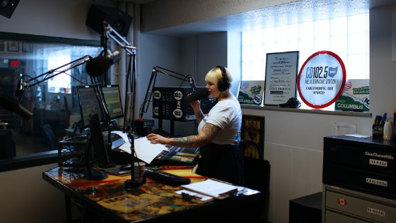 Radio host Rachael Gordon talks on-air from the CD102.5 studios in Columbus, Ohio. WWCD-FM is a rarity in today's world of radio, an independently operated and locally owned commercial music station.