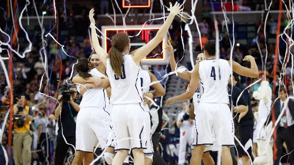 Streamers fall as the Connecticut Huskies celebrate their championship win over Louisville on April 9.