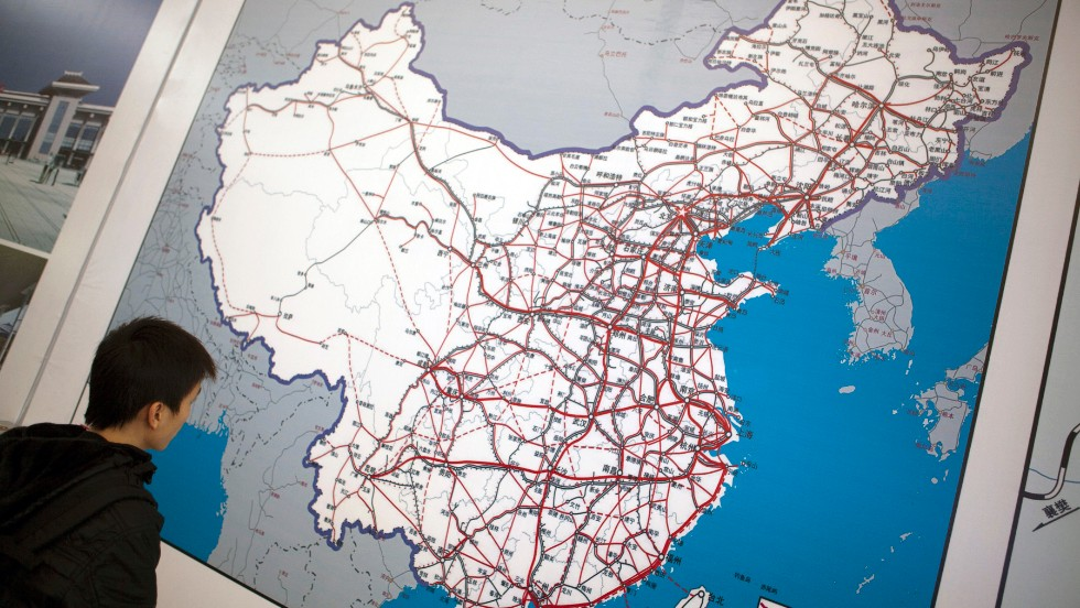 Looking at a map of China's rail network in Guangzhou. Officials have said that by 2020, China's rail system -- high-speed and otherwise -- will have 120,000 kilometers of track.