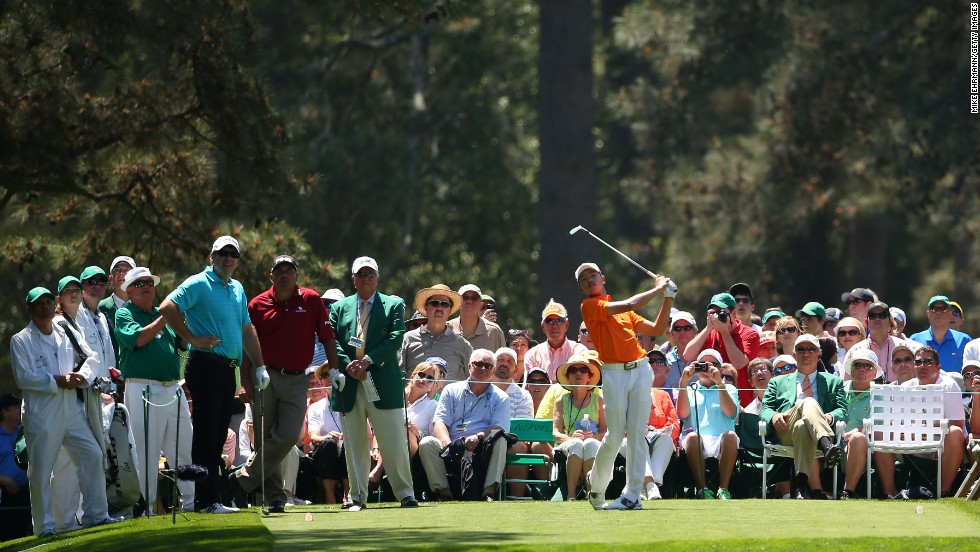 Tianlang Guan of China competes in the Par 3 Contest.