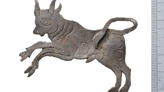 A Roman bull plaque. Ten thousand accessioned finds have been discovered at the site. This is the largest assemblage of small finds to have ever been recovered on a single excavation in London.