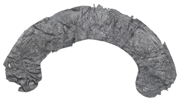 A mystery leather item. This site has supplied the largest quantity of Roman leather to have ever been unearthed in London.