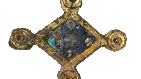 Roman copper-alloy plate brooch with blue enameling.