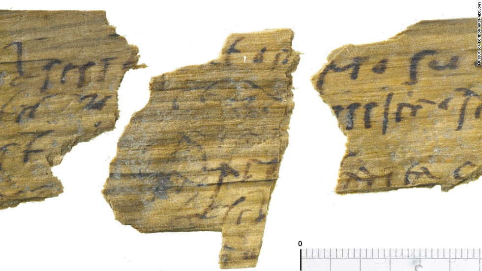 An inked Roman letter. Over 100 fragments of Roman writing tablets have been unearthed, including an affectionate letter.