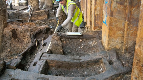 Timber foundation beams from a Roman building.