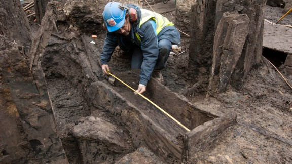 A Roman timber drain. Complex Roman drainage systems used to discharge waste from industrial buildings into the Walbrook River.