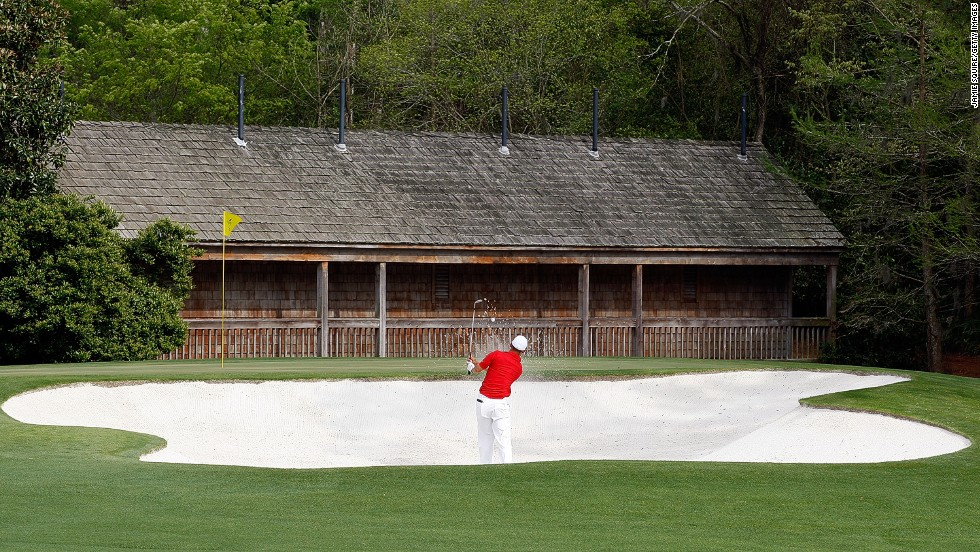 "Augusta's most famous holes are known as ""Amen Corner."" The first of the three is the 11th -- which is called ""White Dogwood."" Here Anthony Kim hits a bunker shot at the 2009 Masters."