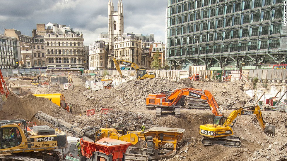 View of excavations at Bloomberg Place, which is currently the largest commercially funded development project in the world. The site embraces the longest stretch of the Roman Walbrook left in the City.