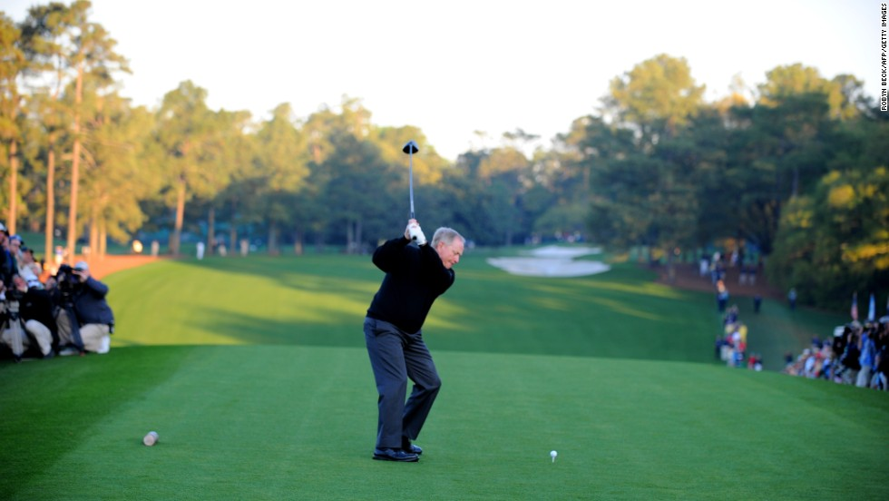 Every year, a legendary golfer hits a ceremonial first tee shot before the first round of the Masters. In 2011 Jack Nicklaus (pictured) shared the honors with Arnold Palmer shortly after sunrise.
