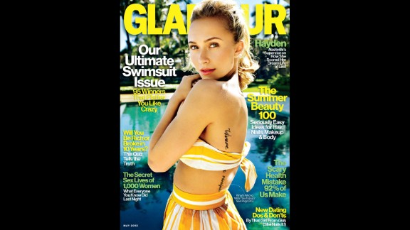 """Hayden Panettiere's photo on the May issue of Glamour magazine reveals the star's tattoo, which is actually misspelled. It's Italian, """"Vivere senza rimpianti,"""" which means """"live without regrets."""" Except it's supposed to be """"rimipianti,"""" Panettiere told Glamour, """"so I literally have to live by that advice!"""""""