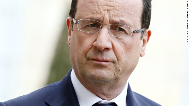 French president Francois Hollande pictured at the Elysee palace in Paris on April 11, 2013.