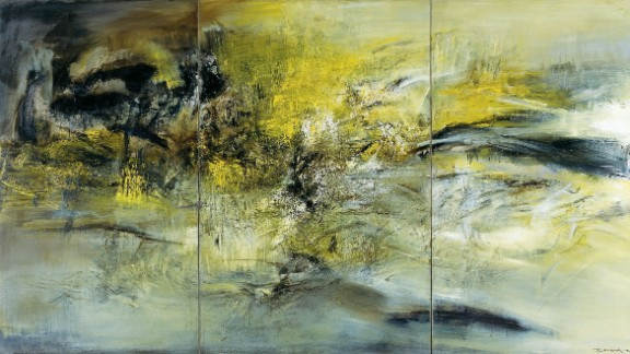 """Zao eventually committed himself fully to abstract painting, rarely using even figurative titles after 1959.  Instead, he titled his works with their date of completion, marking their entry into the world.  This is his 1966 triptych, entitled """"01.04.66."""""""