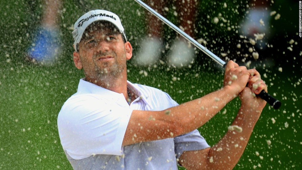 Sergio Garcia of Spain plays during the second round.