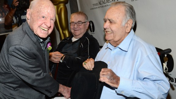 "Mickey Rooney, left, and Marvin Kaplan join Winters for a July 2012 screening of ""It's a Mad, Mad, Mad, Mad World"" in Beverly Hills, California. Winters stood out in Stanley Kramer's 1963 comedy all-star film as a truck driver who destroys a gas station."
