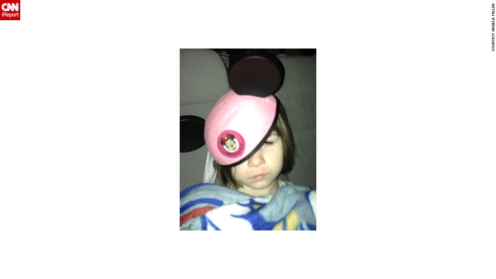 "Angela Miller of Toledo, Ohio, got this photo of her daughter at the <a href=""http://ireport.cnn.com/docs/DOC-955073"">end of a big day</a> at Walt Disney World. It was their family's first trip. ""My daughter had a fantastic time and collapsed on our way back to the hotel on our final day,"" she said."