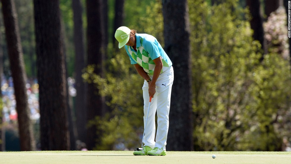 Rickie Fowler of the U.S. plays during the second round.