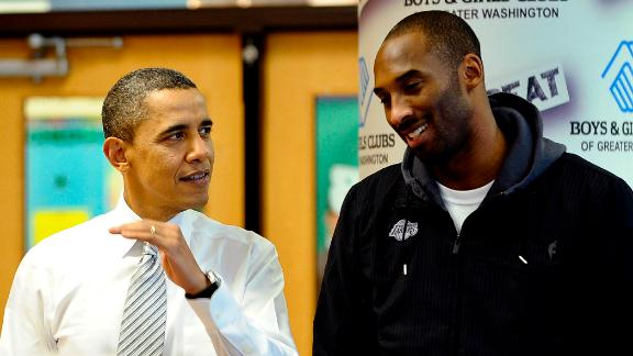 US President Barack Obama chats with Bryant at a Boys and Girls Club in Washington in 2010. Obama welcomed the Lakers to honor their 2009-2010 season and their second consecutive NBA championship.