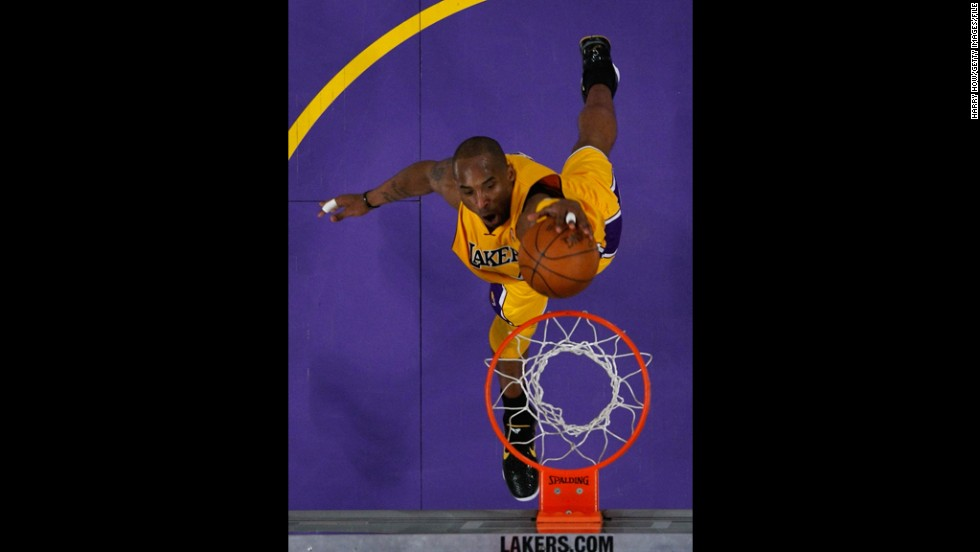 Bryant dunks in the third quarter against the New Orleans Hornets in game five of the Western Conference Quarterfinals in the 2011 NBA Playoffs on April 26, 2011, at Staples Center.