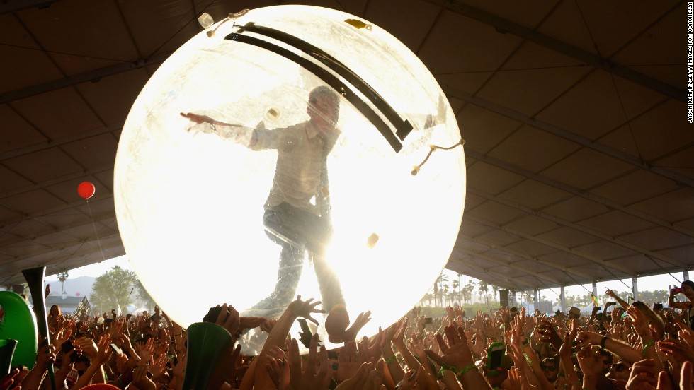 Diplo of Major Lazer rolls over the crowd in a plastic bubble on Day Two of the festival on April 13.