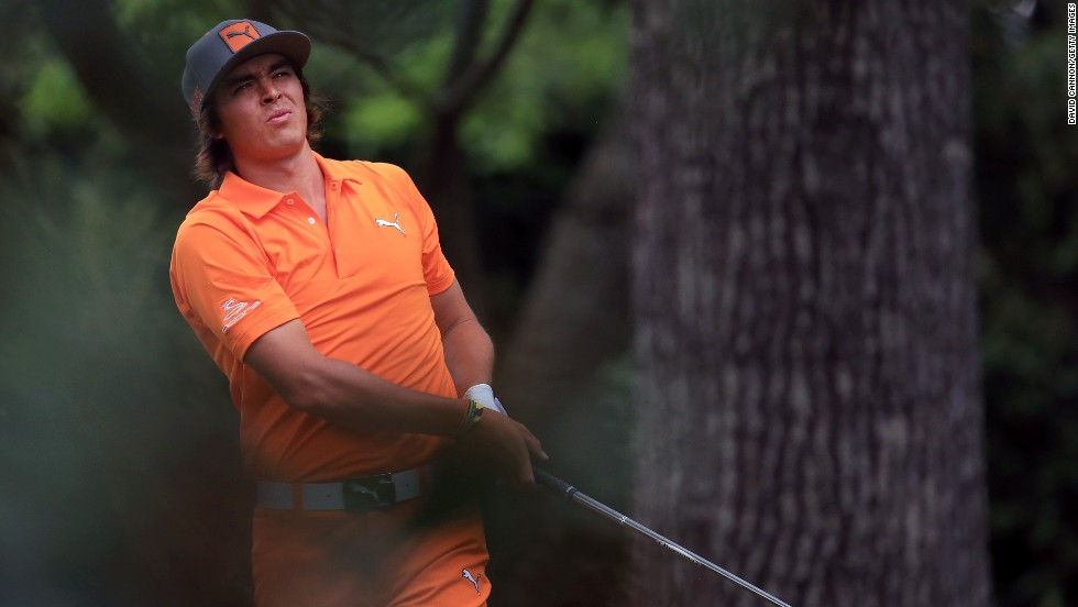 Rickie Fowler of the U.S. tees off on the second hole