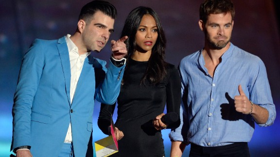 """With a new """"Star Trek"""" movie on the way in May -- """"Star Trek Into Darkness"""" -- cast members Zachary Quinto, right, Zoe Saldana and Chris Pine show up at the MTV Movie Awards in full promotion mode."""