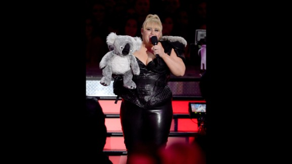 """Host Rebel Wilson, who hails from Australia, injects some Down Under flavor into Sunday's proceedings. She brings out a stuffed koala and uses its """"excellent X-ray vision"""" to play pranks on celebrities Quvenzhané Wallis and Chris Evans."""