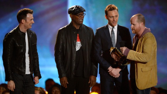 """""""The Avengers"""" crew -- including Chris Evans, Samuel L. Jackson, Tom Hiddleston and Joss Whedon -- accept movie of the year honors, prompting director Whedon to show off his wit: """"What's the opposite of humbled?"""" he asked. """"We're Biebered."""""""