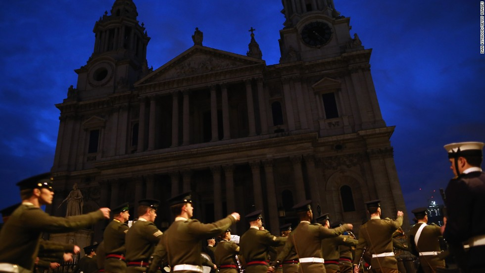 A full military rehearsal for the ceremonial funeral procession takes place outside St Paul's Cathedral in the early morning on April 15, 2013 in London, England.