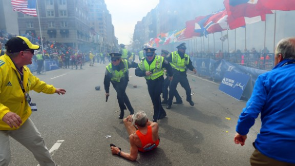 The first explosion knocked down 78-year-old runner Bill Iffrig at the finish line. He got up a few minutes later and finished the race.