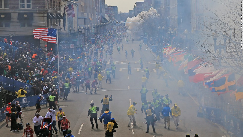 The second of two explosions goes off near the finish line of the Boston Marathon on April 15, 2013. Three people were killed and at least 264 were injured in the double bombings.
