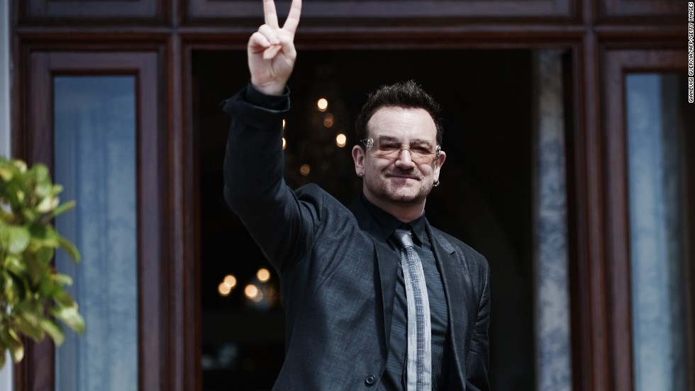 Irish rock star Bono leaves the Genadendal presidential residence after a meeting with the South African President Jacob Zuma in February 2011. Bono has worked on a number of humanitarian causes related to Africa.