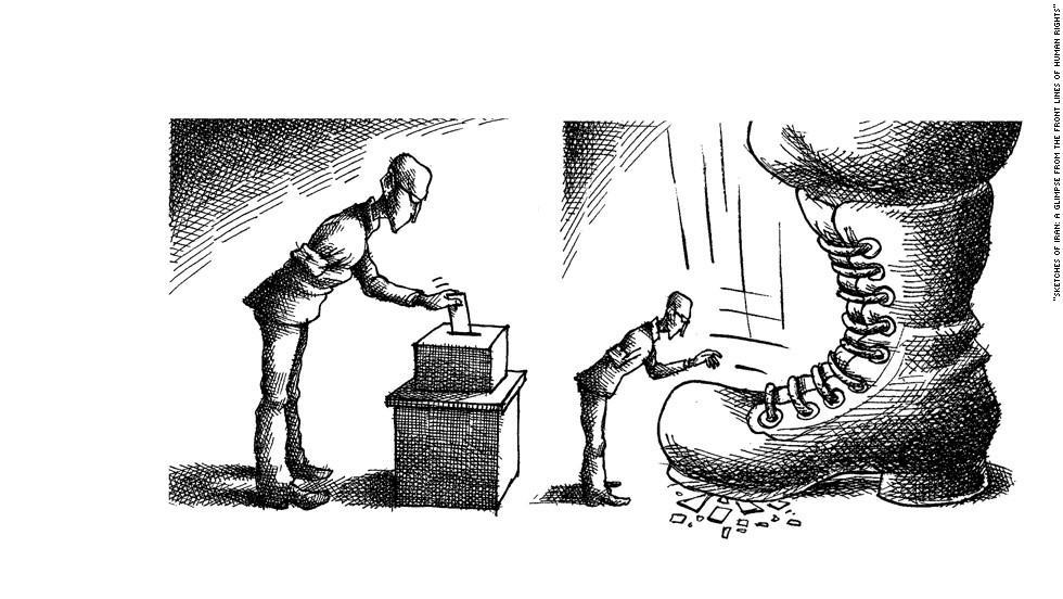 "Drawn by Iranian political cartoonist Mana Neyestani. ""Cartoonists might find ways to express an idea or in a very delicate way,"" says the book's editor Omid Memarian."