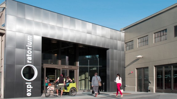 The entrance to the new Exploratorium science museum on Pier 15 in San Francisco. The renovated $250 million space, opening Wednesday, is the Exploratorium's first new home in its 44 years.