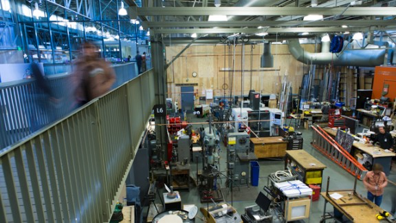 Visitors can peek down at the shop where Exploratorium exhibits are made.