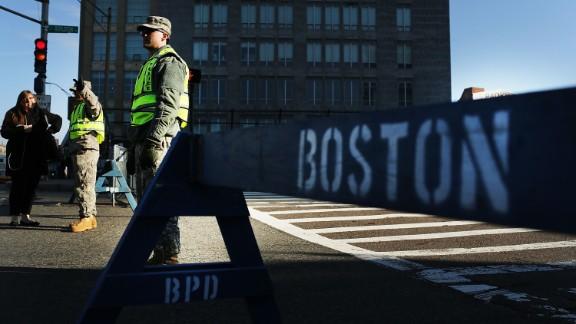 National Guard troops man a roadblock April 16.